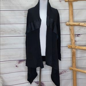 SimplyVera Vera Wang Black Sweater Trim Cardigan S